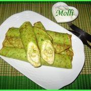 зеленые блины (или Блинты) с сыром Фета и сладким перцем - рецепт.