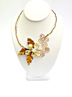 Baroque Mother of Pearl Flower Wire Wrapped Neck Wrap Necklace
