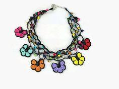 Crochet Necklace Rainbow Colors Crochet Flower by Nakkashe on Etsy