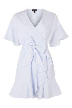 Stripe Ruffle Wrap Dress