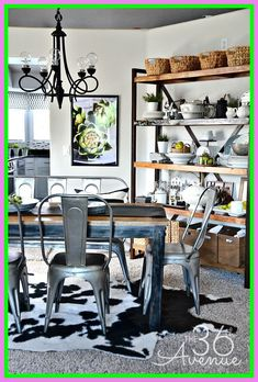Home Decor Ideas Home Decor - Industrial Dining Room Decor at I love this space!Home Decor - Industrial Dining Room Decor at I love this space! Industrial Farmhouse Decor, Industrial Dining, Farmhouse Style Decorating, Modern Farmhouse, Industrial Shelving, Modern Industrial, Vintage Industrial, Diy Decorating, Rustic Modern