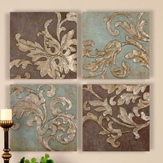 Uttermost Damask Relief Blocks 4 Piece Original Painting on Plaque Set & Reviews | Wayfair