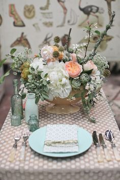 Mint and Peach Table Setting