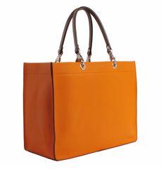 Cabas en cuir orange / Un jour un sac