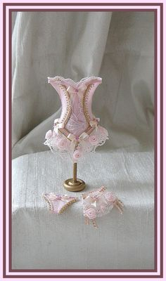 Elegant pink and cold corset and underwear set in 1/12 scale miniature