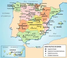 Map of Spain Bucket List Destinations, Europe Destinations, Map Of Spain, By Any Means Necessary, Europe Photos, Backpacking Europe, Travel Maps, Social Science, Spain Travel