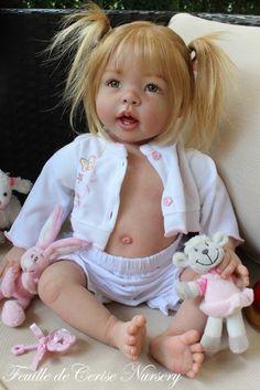 FEUILLE DE CERISE NURSERY reborn baby doll toddler amazing human hair VERY CUTE