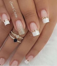 99 Charming Winter Nail Design And Color Ideas – wedding nails - LastStepPin Glitter French Tips, Glitter French Manicure, French Tip Nails, Gel Manicure, French Tip Nail Designs, Bridal Nails Designs, Wedding Nails Design, Fun Nails, Pretty Nails
