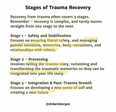 Helpful image giving a brief description of the three stages of recovery Useful of my practice Hermans stages of Trauma recovery Mental And Emotional Health, Emotional Healing, Mental Health Awareness, Trauma Therapy, Therapy Tools, Play Therapy, Speech Therapy, Trauma Quotes, Inner Child Healing