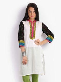 Anouk Women Off-White & Multi-Coloured Printed Kurta | Myntra