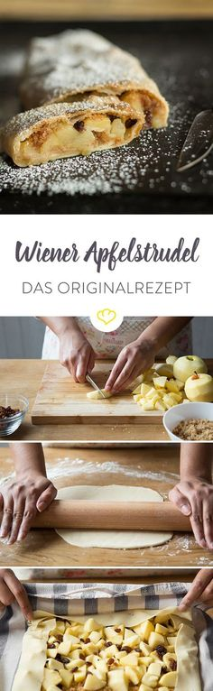 Original Wiener Apfelstrudel – warm, lecker und natürlich selbstgemacht Warm apple strudel is my comfort food for days when everything goes awry. Sweet Desserts, Sweet Recipes, Cake Recipes, Dessert Recipes, Pudding Desserts, How To Make Dough, Apple Strudel, Comfort Food, Food Cakes