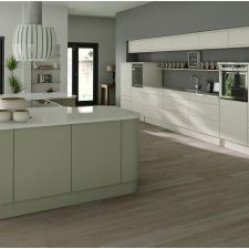 Mackintosh Kitchens Available to order now from Cozy Kitchens Newton Abbot. Linear painted Slab door in a painted matt finish Sage Grey and Ivory 14 different colour variations to choose from. Independent Kitchen Design, Bristol, Kitchen Showroom, Showroom Design, Cozy Kitchen, Modern Kitchen Design, Home Decor, Furniture, Newton Abbot