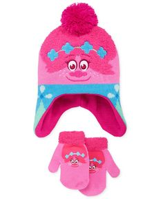 Berkshire brings the cheer and charm of Princess Poppy to her cold-day accessories with this Trolls movie hat and mittens set.   Hat and mittens: acrylic   Hand wash   Imported   Hat: beanie style; po
