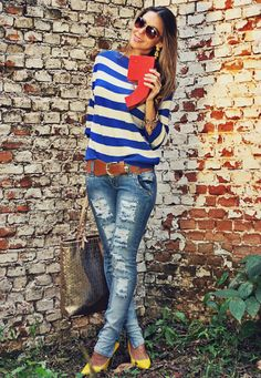 Destroyed jeans by MacStile....another Fun outfit! Like the jeans, love the shoes and bag.