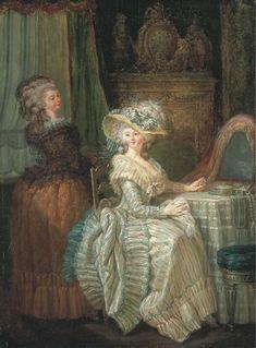 Dame élégante à sa table de toilette avec une servante  ca. late 18th century  Attributed to Nicolas-René Jollain