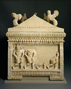 Limestone sarcophagus: the Amathus sarcophagus  Period:  Archaic Date:     2nd quarter of the 5th century B.C. Culture: Cypriot Medium: Hard limestone