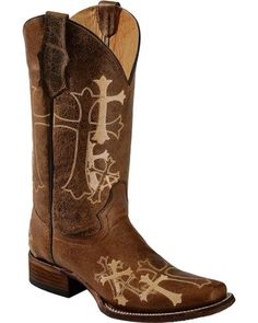Circle G Cross Embroidered Cowgirl Boots - Square Toe, Chocolate