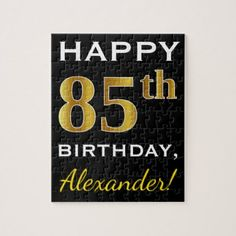 Black Faux Gold 85th Birthday  Custom Name Jigsaw Puzzle - diy cyo customize create your own personalize