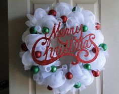 Check out our christmas mesh wreaths selection for the very best in unique or custom, handmade pieces from our shops. Wreath Crafts, Diy Wreath, Christmas Crafts, Tulle Wreath, Burlap Wreaths, Summer Deco, Christmas Mesh Wreaths, Christmas Diy, Mesh Wreaths Summer