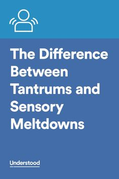 "Knowing the difference between tantrums and sensory meltdown helps you better respond. ""To tame tantrums, acknowledge what your child needs without giving in. - To manage a meltdown, help your child find a safe, quiet place to de-escalate. Sensory Disorder, Sensory Processing Disorder, Autism Sensory, Sensory Activities, Sensory Diet, Sensory Toys, Adhd And Autism, Aspergers Autism, Autism Parenting"