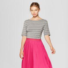 11d59ac730da5 Women s Striped Elbow Sleeve Ballet-Back T-Shirt - A New Day™ Gray White  Shine XXL