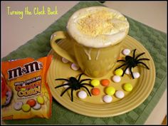 Check out this delicious #Halloween #coffee  creation using White Chocolate Candy Corn  M&M's!  Kick it up with a splash of Godiva White Chocolate liquor!  Heavenly on a cold night of trick or treating!