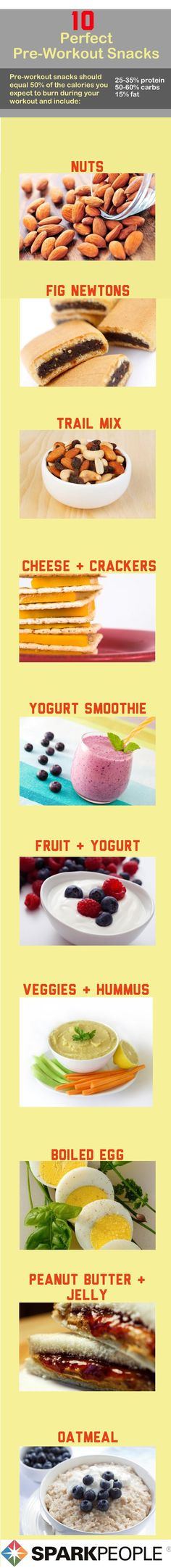 Perfect Pre-Workout Snacks! Click through for details on how much to eat, when to plan your meals and more!   via @SparkPeople