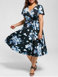 Shop for BLUE 6XL Plus Size V Neck Floral Tea Length Dress online at $26.96 and discover fashion at RoseGal.com