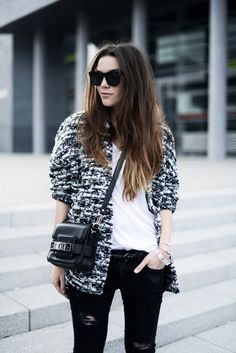 HM TREND KNITTED CARDIGAN, RIPPED ZARA JEANS, T BY ALEXANDER WANG T-SHIRT, PS11 TINY BAG AND YSL SUNNIES