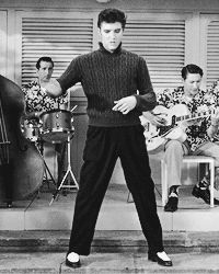 "Elvis singing (You're So Square) )""Baby I Don't Care"" in his 3rd movie ""Jailhouse Rock"", 1957 Listen to him on: http://youtu.be/IaxswIzQJQQ"