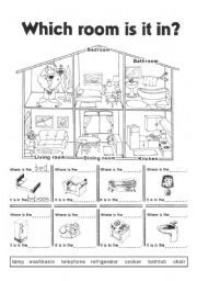 English worksheet: Which room is it in?