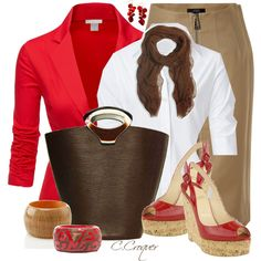 Red Wedges Sandals by ccroquer on Polyvore featuring moda, Vince Camuto, Steffen Schraut, Doublju, Belstaff, Louis Vuitton, Style & Co. and Me & Kashmiere