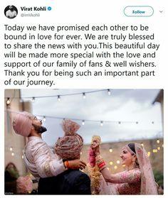 Congratulations @virat.kohli & @anushkasharma!