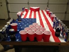 American flag beer pong table with Pledge of Allegiance inscribed