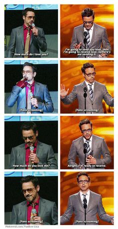 Robert Downey Jr., introducing Iron Man 3 at Comic Con and accepting award for Favorite Movie Actor & Favorite Superhero at People's Choice Awards