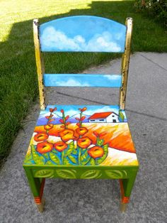 painted chairs art - hard lines softened with organic images *or* lines emphasized Hand Painted Chairs, Whimsical Painted Furniture, Painted Stools, Hand Painted Furniture, Painted Tables, Art Furniture, Funky Furniture, Repurposed Furniture, Furniture Makeover