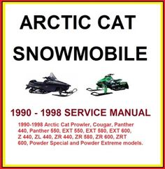 details about arctic cat zrt ext zr cougar panther arctic cat snowmobile 1990 1998 service repair manual this manual covers the 1990 1998