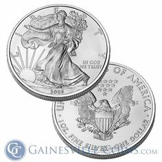 Buy American Silver Eagles at discount prices from Gainesville Coins. The Silver Eagle was first minted in 1986 and is currently still in production. Silver Eagle Coins, Gold And Silver Coins, Silver Eagles, Silver Bullion, Rhyme And Reason, 1 Oz, Precious Metals, Adobe Air
