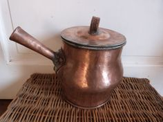 Antique French copper pan pot w copper lid w handle, 1800s saucepan kitchenware from France French country cottage cooking kitchen ware gift