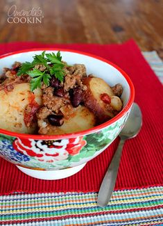 Simple Slow Cooker Cowboy Casserole | Potatoes, red beans, ground beef, tomatoes