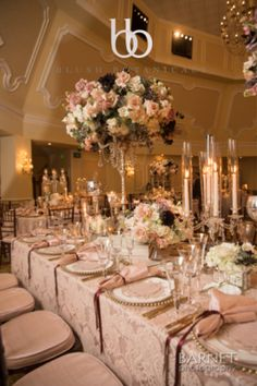 Glamorous head table for a blush wedding with Crown Weddings at the Hotel Del Coronado.  Photo by Barnet Photography
