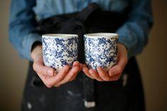 Petit café / Small coffee/ blue flowers set of 2