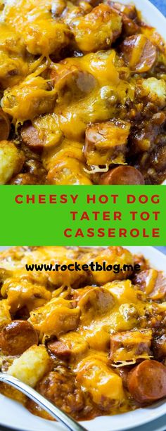 Cheesy Hot Dog Tater Tot Casserole is pure comfort food. Sliced hot dogs, chili, tater tots, and cheddar cheese combine to make an easy and . Hot Dog Tater Tot Casserole Recipe, Tater Tot Recipes, Casserole Recipes, Tater Tot Breakfast Casserole, Baked Hot Dogs, Baked Ribs, Oven Baked, Cheesy Tater Tots, Hot Dog Chili