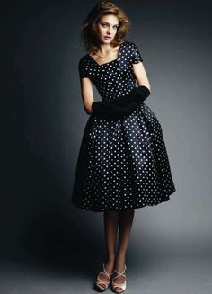 Dior #vintage #polkadot #black #white #kneelength #fitted #flared #dior