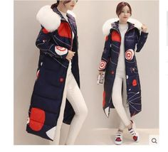 Women's Girls Fur Collar Zipper Over Knee-Length Hooded Printing Down Coat A414
