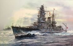 A painting by Tom Freeman of IJN Nagato along with a heavy cruiser (that I believe is a Takao-class, but she might be a Myōkō-class). ~ BFD