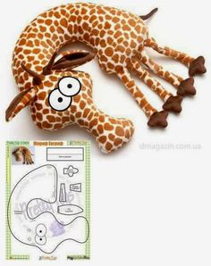 Giraffe neck pillow (sew) For inspiration Sewing Toys, Baby Sewing, Sewing Crafts, Sewing Projects, Doll Patterns, Sewing Patterns, Fabric Toys, Sewing Pillows, Neck Pillow