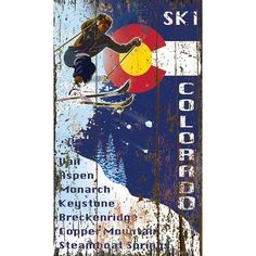 Colorado Vintage Custom Ski Sign printed directly on distressed wood panels with knots and other imperfections giving each sign...