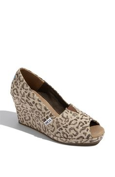 TOMS 'Snow Leopard' Burlap Wedge  - I make fun of leopard print all the time, but I want these so bad I can't even stand it.  LOVE THEM.