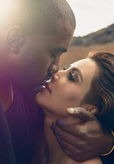 In another shot from their new Vogue spread, Kim Kardashian and Kanye West share an eskimo kiss as they look into each other's eyes.